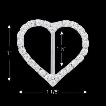 """1"""" X 1 1/8"""" RHINESTONE HEART BUCKLE- CRYSTAL/SILVER"""