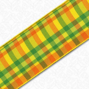 WIRE EDGE PLAID RIBBON - YELLOW/ORANGE