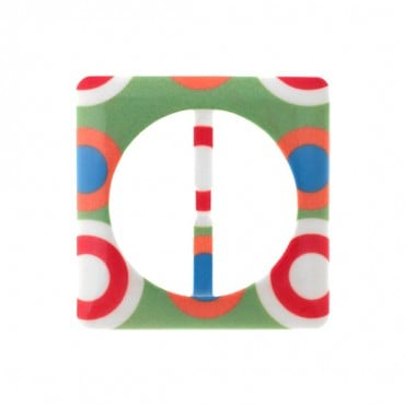 "COLORFUL SQUARE PLASTIC SLIDE BUCKLE-2 1/2"" x 2 1/2""-MULTI"