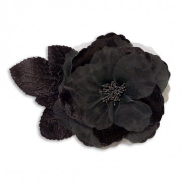 VELVET/ORGANZA FLOWER WITH PIN - BLACK