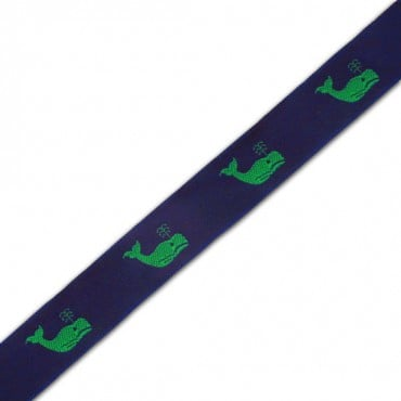 22MM  WHALE DESIGN JACQUARD - NAVY/GREEN