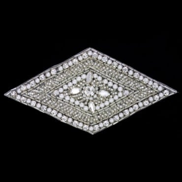 "5"" X 2.5"" BEADED APPLIQUE - SILVER"