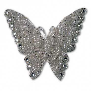 RHINESTONE BEADED BUTTERFLY APPLIQUE - CRYSTAL/SILVER
