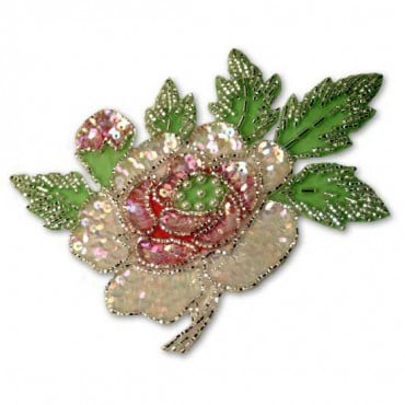 BEADED SEQUIN FLOWER APPLIQUE - PASTEL MULTI