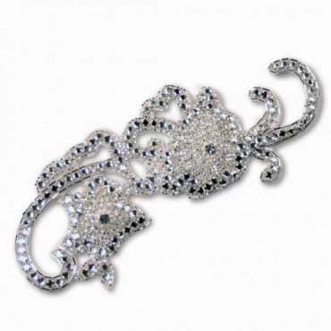 RHINESTONE FLOWER APPLIQUE - CRYSTAL/SILVER