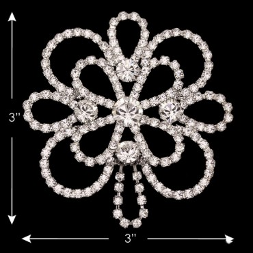 "3"" X 3"" R.S. DRESS ORNAMENT - CRYSTAL/SILVER"