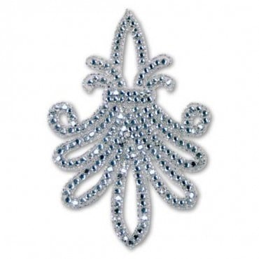 RHINESTONE/BEAD APPLIQUE - CRYSTAL/SILVER