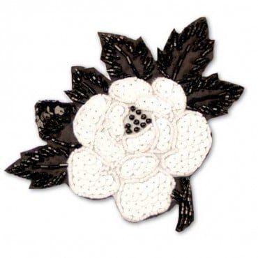 "5.5"" X 5"" BEAD/SEQUIN APPLIQUE - BLACK/CHALKWHITE"