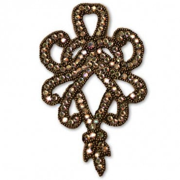 RHINESTONE/BEAD APPLIQUE - BRONZE MULTI