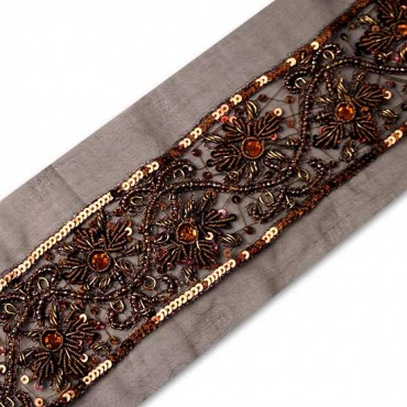 "INTRICATE 2"" BEADED FLORAL BORDER TRIM"
