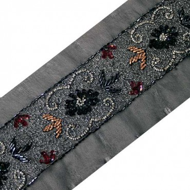 "2.25"" BEADED BORDERS - BLACK/BRONZE MULTI"