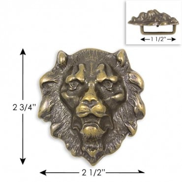 "2.75"" X 2.5"" LION HEAD BUCKLE - ANTIQUE BRASS"