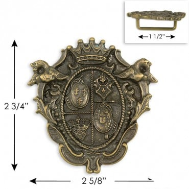"2.75"" X 2 5/8"" ROYAL CREST BUCKLE - ANTIQUE BRASS"