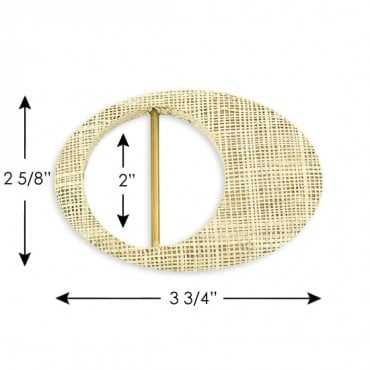 "2 5/8"" X 3 3/4"" COVERED BUCKLE - NATURAL RAFFIA"