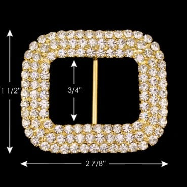 SQUARE THREE ROW RHINESTONE  BUCKLE