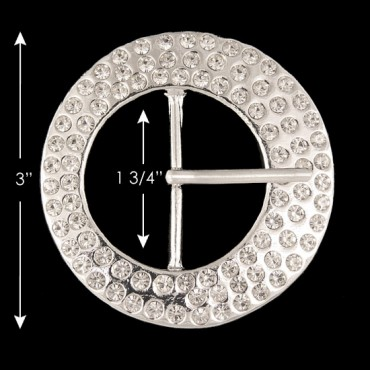 "3"" (77mm) Round Rhinestone Buckle"