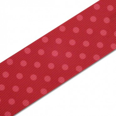 "1.5"" SINGLE FACE POLKA DOTS GROSGRAIN - PINK/RED"