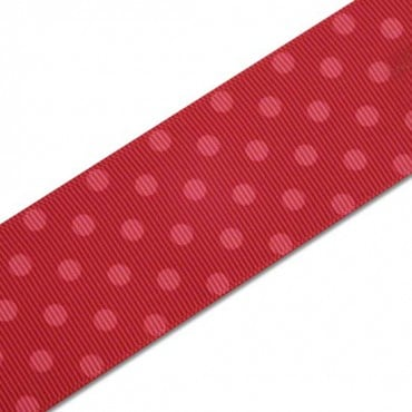 "1 1/2"" SINGLE FACE POLKA DOTS GROSGRAIN - PINK/RED"