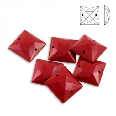 17 X 17MM SQUARE SEW-ON JEWEL - RED
