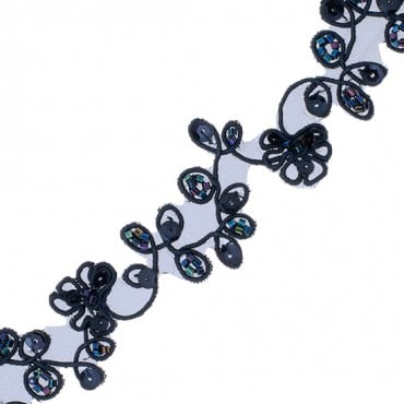 "1"" LEAF AND FLORAL EMBROIDERED TRIM-1""-NAVY"