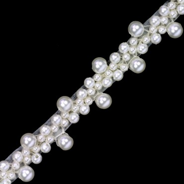 PEARL BEADED TRIM - IVORY
