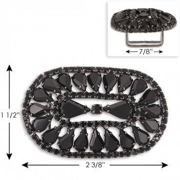 ART DECO OVAL RHINESTONE BUCKLE