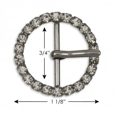 "1 1/8"" (29mm) Round Rhinestone Buckle"