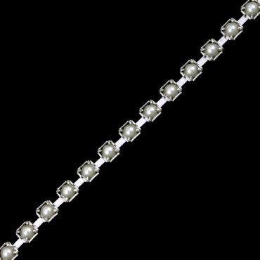 2MM PEARL CHAIN - PEARL/SILVER