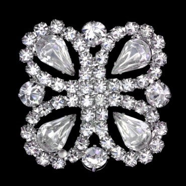 Semi-Square Rhinestone Button
