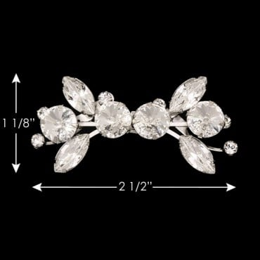 "1 1/8"" X 2 1/2"" R.S. DRESS TRIM - CRYSTAL/SILVER"