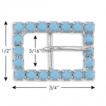 "1/2"" X 3/4"" RECT. R.S  BUCKLE - TURQUOISE/SILVER"