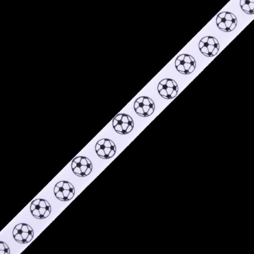 "3/8"" S.F.SATIN SOCCER RIBBON - WHITE/BLACK"