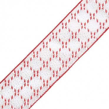 "2 1/2"" WIRED SWEET MINT RIBBON-2 1/2""-RED/WHITE"