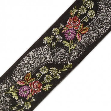 65MM FLORAL JACQUARD RIBBON - BLACK/SILVER/RED MULTI