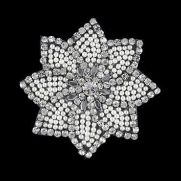 RHINESTONE PEARL  FLOWER - CRYSTAL/SILVER