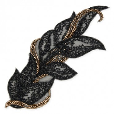 BEADED APPLIQUE - BRONZE/BLACK