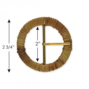 ROUND COVERED BUCKLE W/PRONG - NATURAL