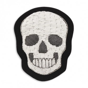 "2.75"" x 2 1/8"" SKULL APPLIQUE - SILVER/BLACK"