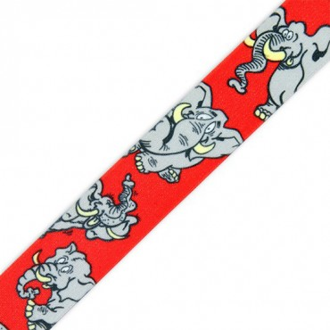 25MM ELEPHANT PRINT ELASTIC - RED MULTI