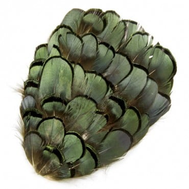"5"" x 3 1/2"" PHEASANT FEATHER PATCH - GREEN IRIS"