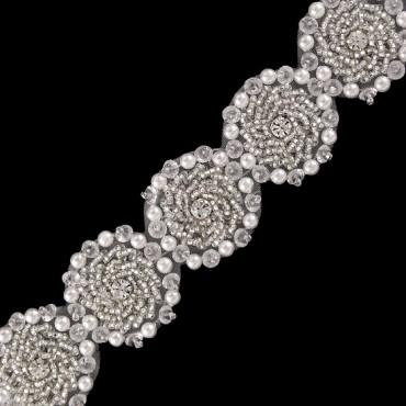 "1 1/2"" (38mm) Floral Rhinestone Pearl"