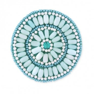 BLUE BEADED FLORAL APPLIQUE