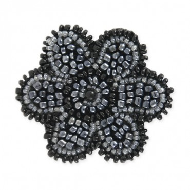 LARGE BEADED MOTIF - GUNMETAL/BLACK
