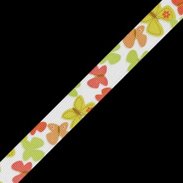 "5/8"" BUTTERFLY PRINTED RIBBON - YELLOW/CORAL MULTI"