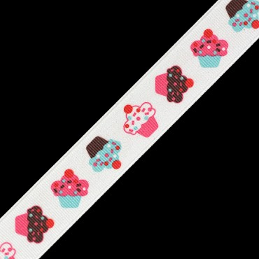"7/8"" (23mm) Cupcake Printed Ribbon"