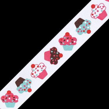 "1.5"" CUPCAKE PRINTED RIBBON - BLUE/PINK/WT"