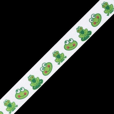 "7/8"" FROG PRINTED RIBBON - GREEN/WHITE"