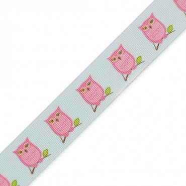 "7/8"" OWL PRINTED RIBBON - PINK/BLUE"