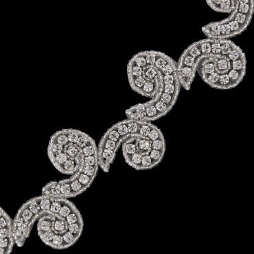 "1"" RHINESTONE BEADED TRIM - CRYSTAL/SILVER"
