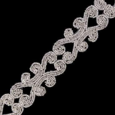 "1.25"" RHINESTONE BEADED TRIM - CRYSTAL/SILVER"